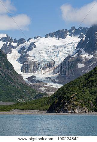 Glacier In V Shaped Valley