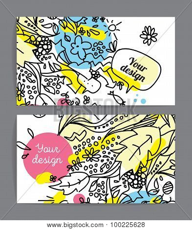 Colorful cards or invitations. Hand drawn doodle style.