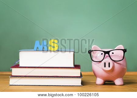 Master Of Science Degree Theme With Pink Piggy Bank On Top Of Books With Chalkboard
