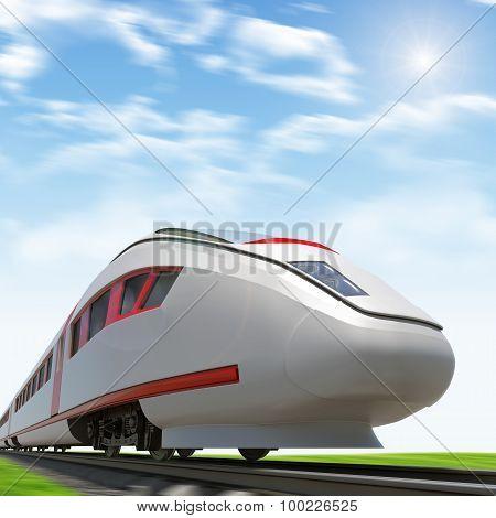 Train moving forward on rail-tracks with sun