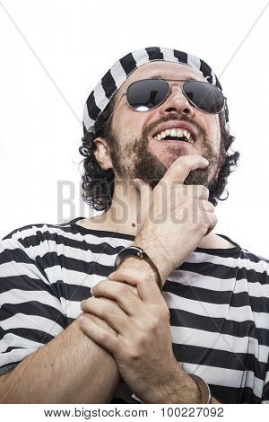 Jail, Desperate, portrait of a man prisoner in prison garb, over white background