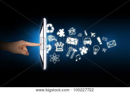 Human using tablet
