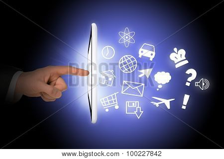 Tablet with icons and humans hand
