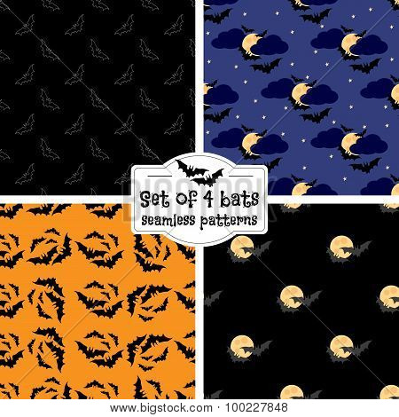 Set Of Four Bats Seamless Patterns
