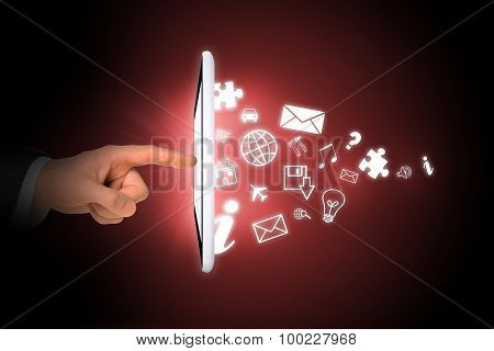 Tablet with icons and businessmans hand