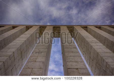 Columns against sky