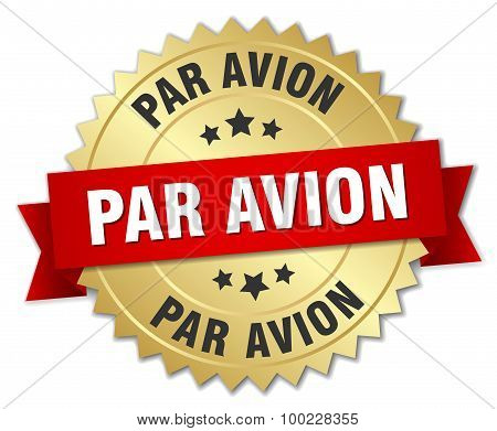 Par Avion 3D Gold Badge With Red Ribbon
