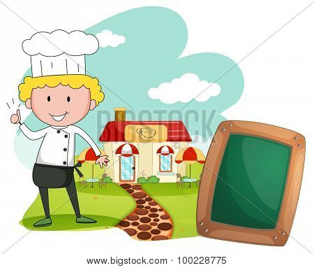 Chef standing in front of cafe illustration