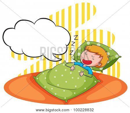 Boy sleeping and snoring illustration