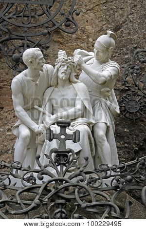 Laying The Crown Of Thorns On Jesus' Head, Statue Near Benedictine Abbey Santa Maria De Montserrat I