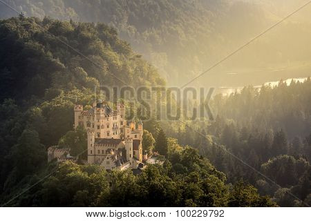 Beautiful summer sunset view of the Hohenschwangau castle at Fussen Bavaria, Germany