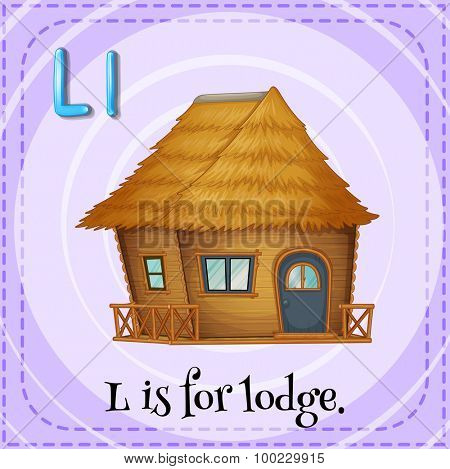 Flashcard of L is for lodge illustration