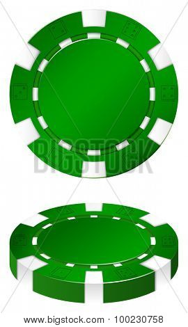 Green casion chips on white illustration