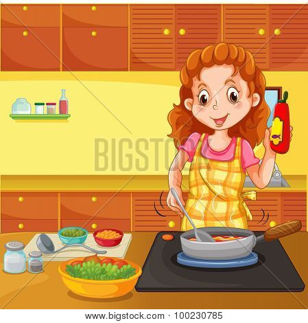 Woman cooking in kitchen illustration