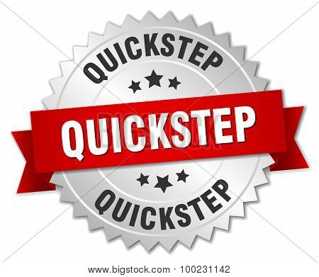 Quickstep 3D Silver Badge With Red Ribbon
