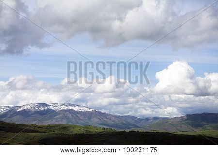 blue skies and snow capped mountains
