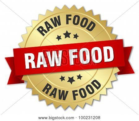 Raw Food 3D Gold Badge With Red Ribbon