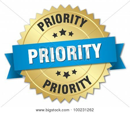 Priority 3D Gold Badge With Blue Ribbon