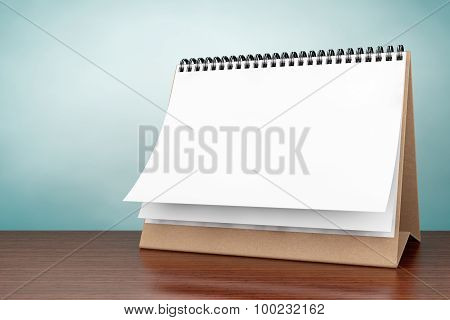 Old Style Photo. Blank Paper Desk Spiral Calendar