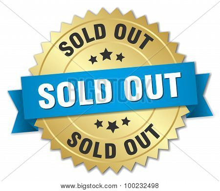 Sold Out 3D Gold Badge With Blue Ribbon