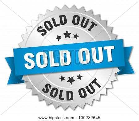 Sold Out 3D Silver Badge With Blue Ribbon