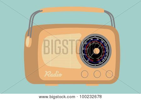 Flat Conceptual Illustration Of Closeup Vintage Radio