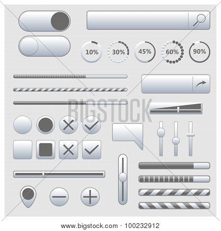 Set Of Web Elements, Vector Illustration.