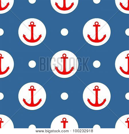 Tile sailor pattern with red anchor and white polka dots on navy blue background