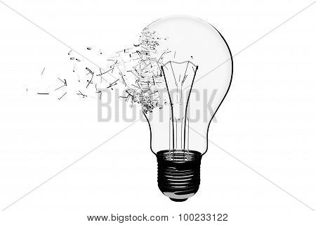 Idea Concept. Light Bulb Exploding