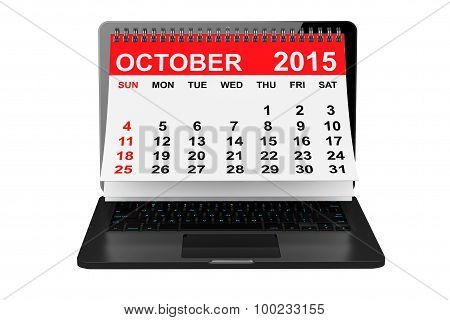 October 2015 Calendar Over Laptop Screen