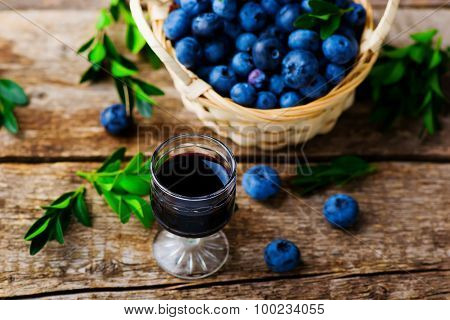 Liqueur From Blueberry In A Shot Glass