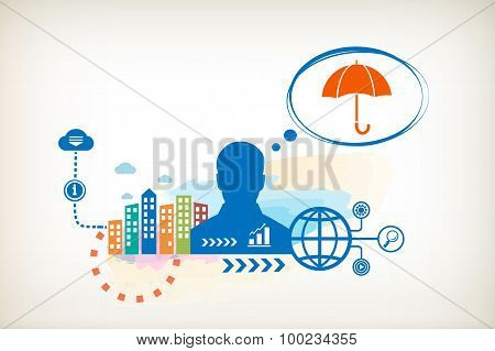 Umbrella And Person With Bubbles For Dialogue.