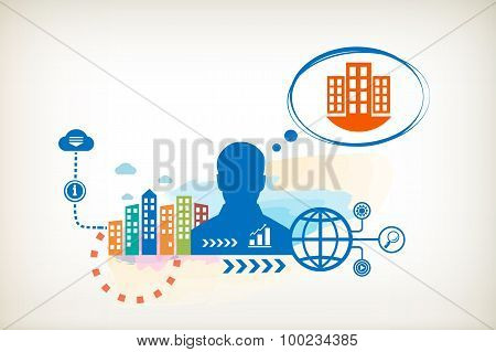 City Buildings And Person With Bubbles For Dialogue.