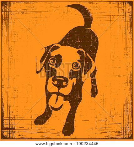 cartoon illustration of a labrador retriever dog with grunge texture