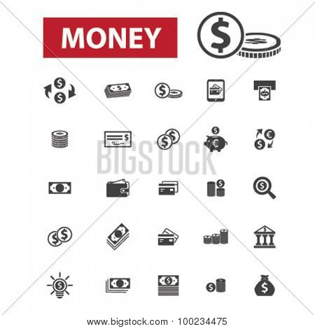 money black isolated concept icons, illustrations set. Flat design vector for web, infographics, apps, mobile phone servces