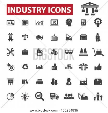 Industry, industrial business, factory black isolated concept icons, illustrations set. Flat design vector for web, infographics, apps, mobile phone servces
