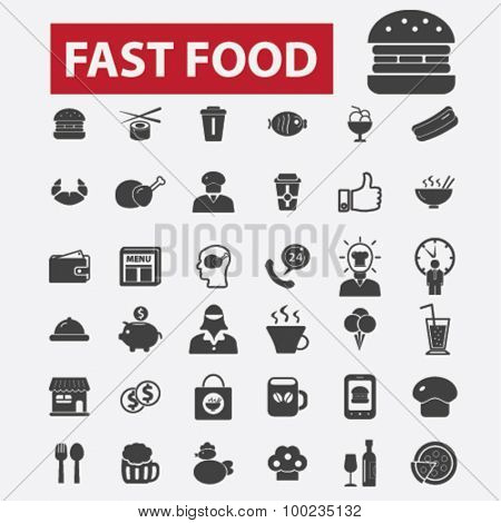 fast food black isolated concept icons, illustrations set. Flat design vector for web, infographics, apps, mobile phone servces
