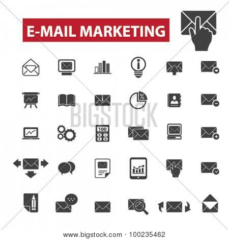 e-mail marketing black isolated concept icons, illustrations set. Flat design vector for web, infographics, apps, mobile phone servces