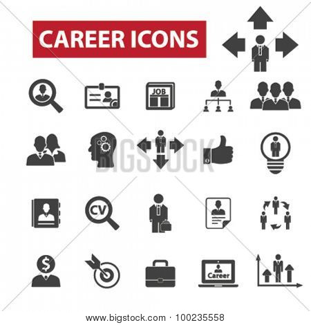 Career, job black isolated concept icons, illustrations set. Flat design vector for web, infographics, apps, mobile phone servces