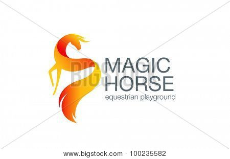 Fairy Horse Logo design vector template. Equestrian Logotype concept icon.