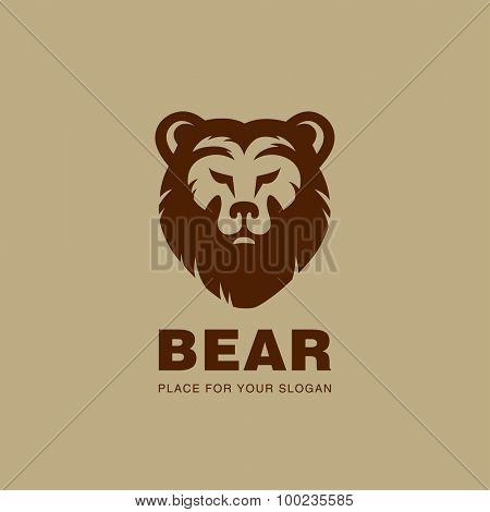 Bear head Logo design vector silhouette. Stock exchange, Hunting, wild animal logotype concept icon.