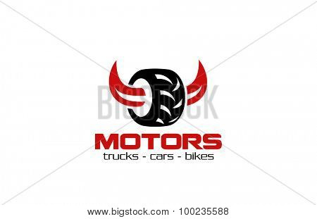 Vehicle Repair Garage services Logo design Race vector template. Tyre with Horn Wheels Store Logotype Auto Motor concept icon.