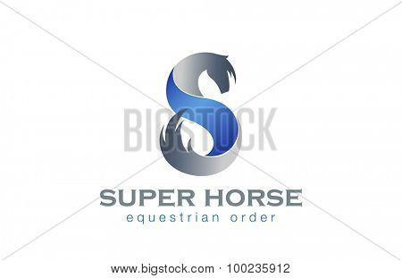 Horse Twisted Ribbon as S letter Logo design vector template. Equestrian Logotype concept icon.