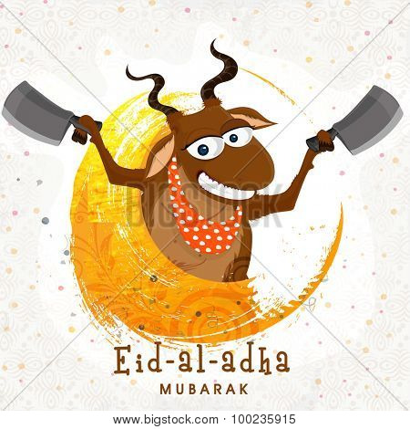 Funny smiling goat holding cleaver knife in both hands for Islamic Festival of Sacrifice, Eid-Al-Adha celebration.