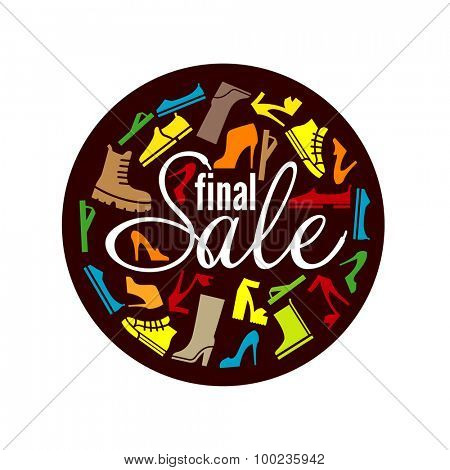 Footwear Final Sale vintage Label design vector illustration. Discount for shoes, boots etc. marketing promotion.