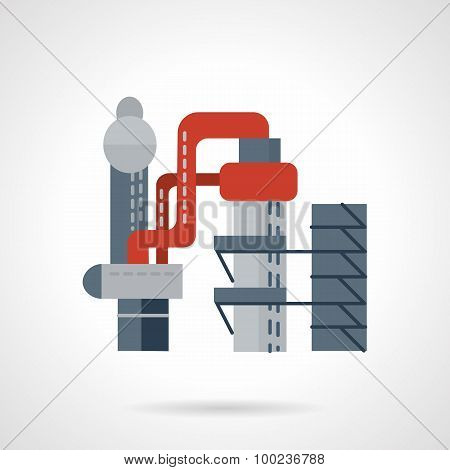 Metallurgical works flat vector icon
