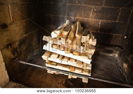 Wood With Fire On Stone Oven