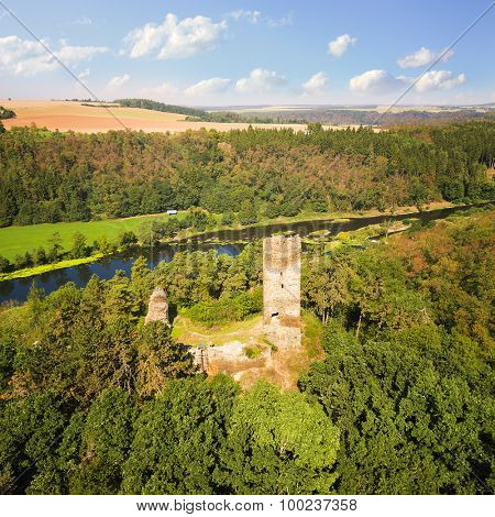 Aerial view of medieval castle Libstejn over Berounka River nearby Pilsen in Czech Republic. Central Europe.