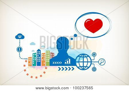 Heart And Person With Bubbles For Dialogue.