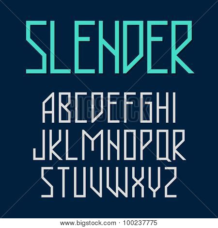 Slender, thin style font vector illustration